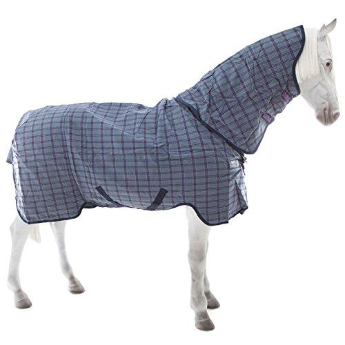 Horseware Rhino Pony Plus Turnout Medium 200g mit abnehmbarem Halsteil - Charcoal&Light Purple Check, Groesse:125 -