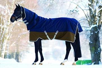 Horseware Amigo Mio All-In-One Turnout Heavy 350g Füllung Winterdecke mit Halsteil Navy & Tan 115-160 (145) -