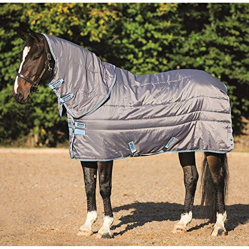 Horseware Amigo XL Insulator Plus Medium Stable Rug 165cm Light Grey/Baby Blue & Gunmetal -