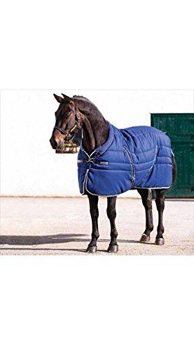 Horseware Rambo Cosy Stable Rug 160cm Navy, Beige/Baby Blue & Navy -