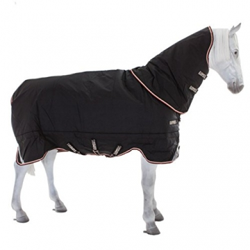 Horseware Rambo Supreme Turnout heavy 420g incl. abnehmbarem Halsteil / Black & Orange (Auslaufmodell), Groesse:155 -