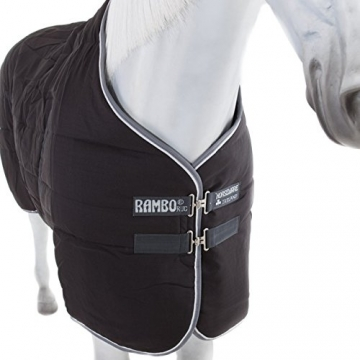 Horseware Stalldecke Rambo Stable Rug 400g - Black with Pale Grey & Grey, Groesse:160 -