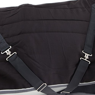 Horseware Stalldecke Rambo Stable Rug 400g - Black with Pale Grey & Grey, Groesse:160 -